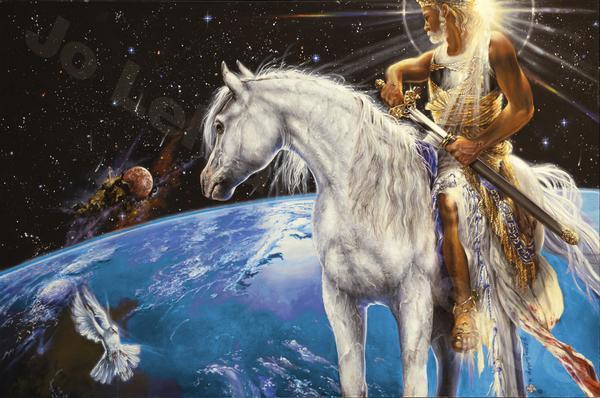 riding a white horse