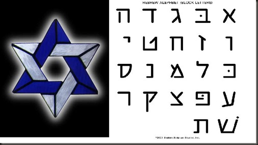 star of david - hebrew letters